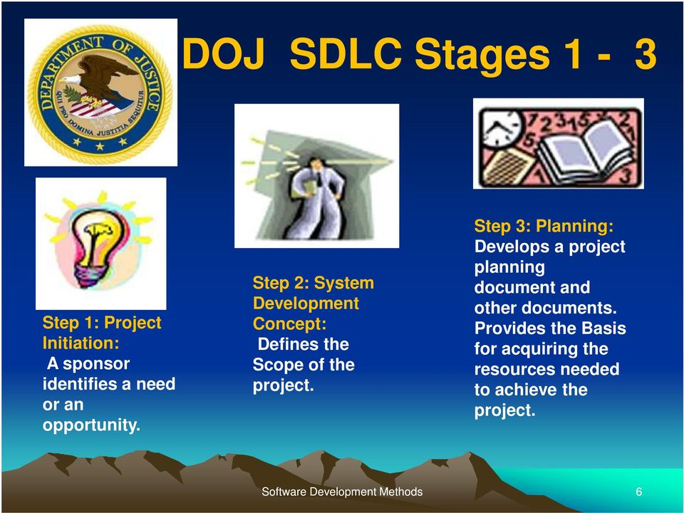 Step 2: System Development Concept: Defines the Scope of the project.