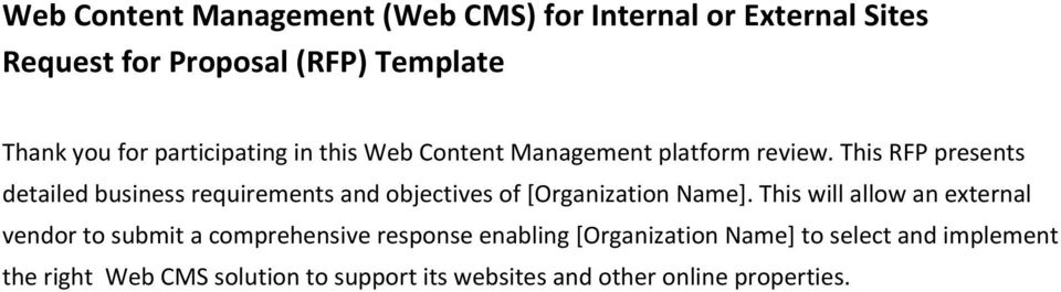Web Content Management (Web CMS) for Internal or External