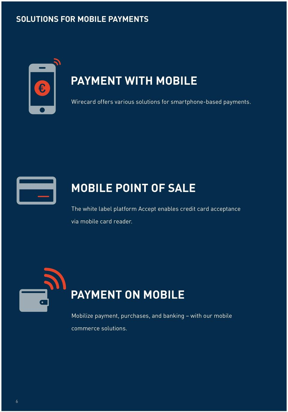 MOBILE POINT OF SALE The white label platform Accept enables credit card
