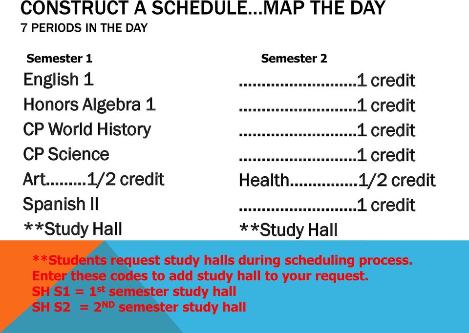 .1 credit **Study Hall **Students request study halls during scheduling process.