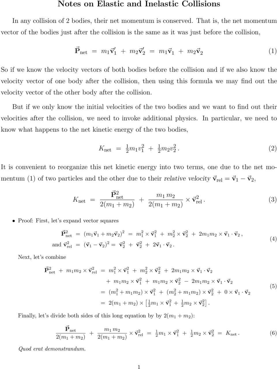 Notes On Elastic And Inelastic Collisions Pdf Free Download