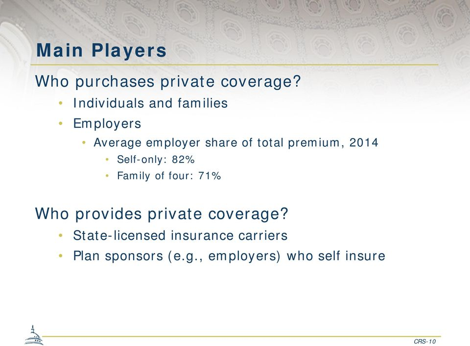 premium, 2014 Self-only: 82% Family of four: 71% Who provides private