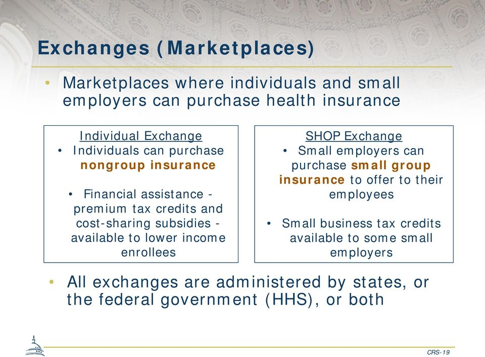 lower income enrollees SHOP Exchange Small employers can purchase small group insurance to offer to their employees Small business