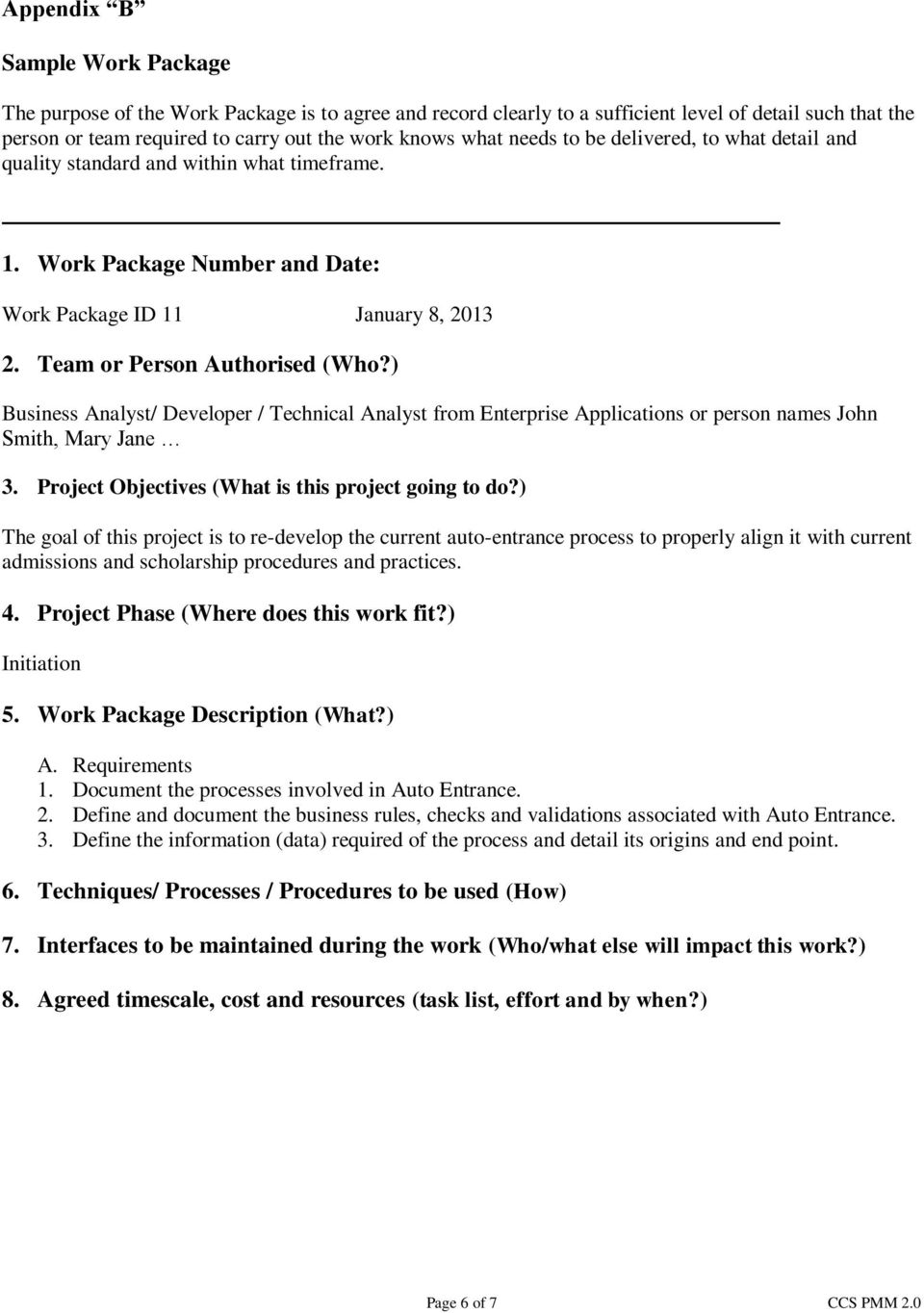 ) Business Analyst/ Developer / Technical Analyst from Enterprise Applications or person names John Smith, Mary Jane 3. Project Objectives (What is this project going to do?