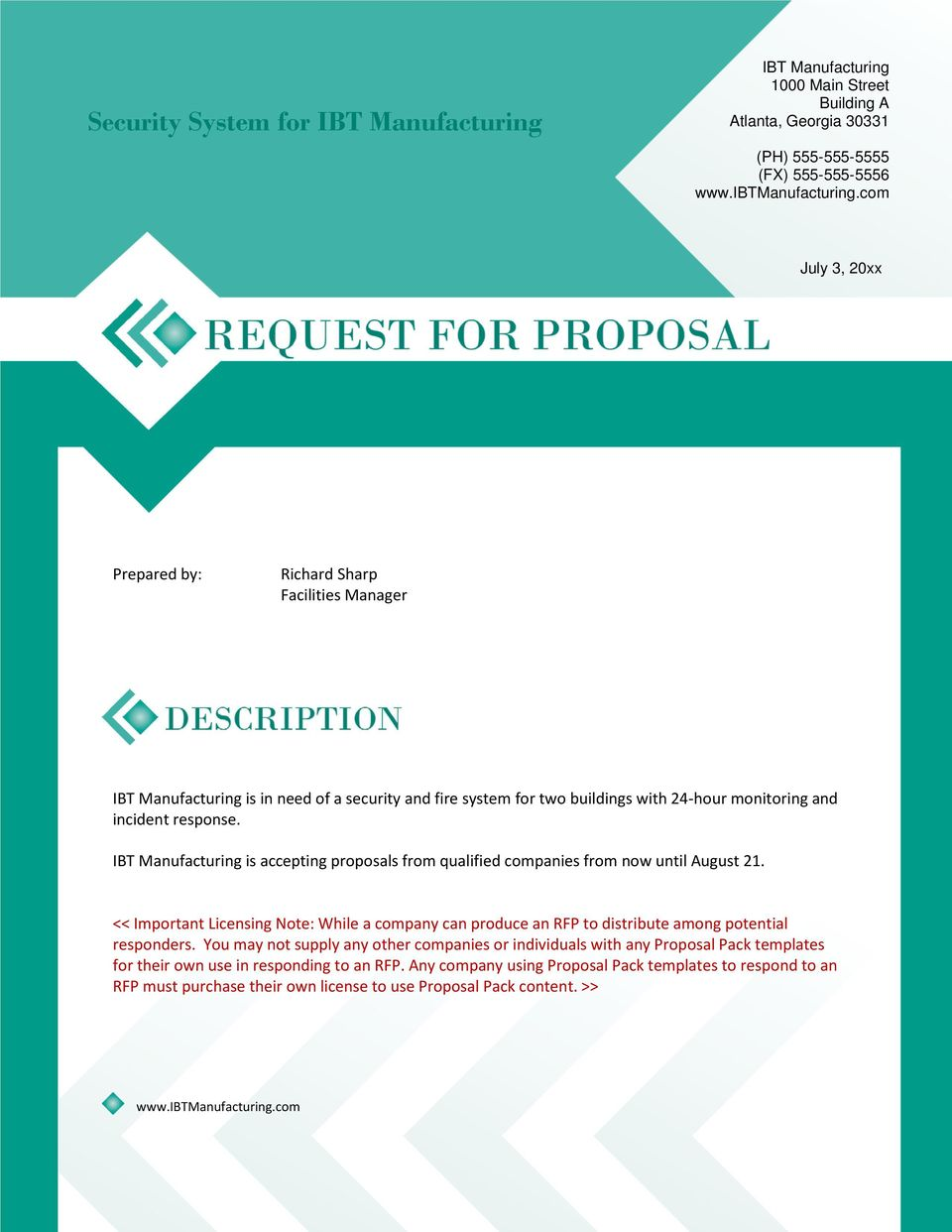 Request for Proposal (RFP) Sample - PDF