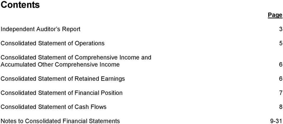 Other Comprehensive Income 6 Consolidated Statement of Retained Earnings 6