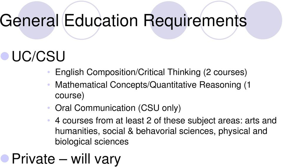 Communication (CSU only) 4 courses from at least 2 of these subject areas: arts