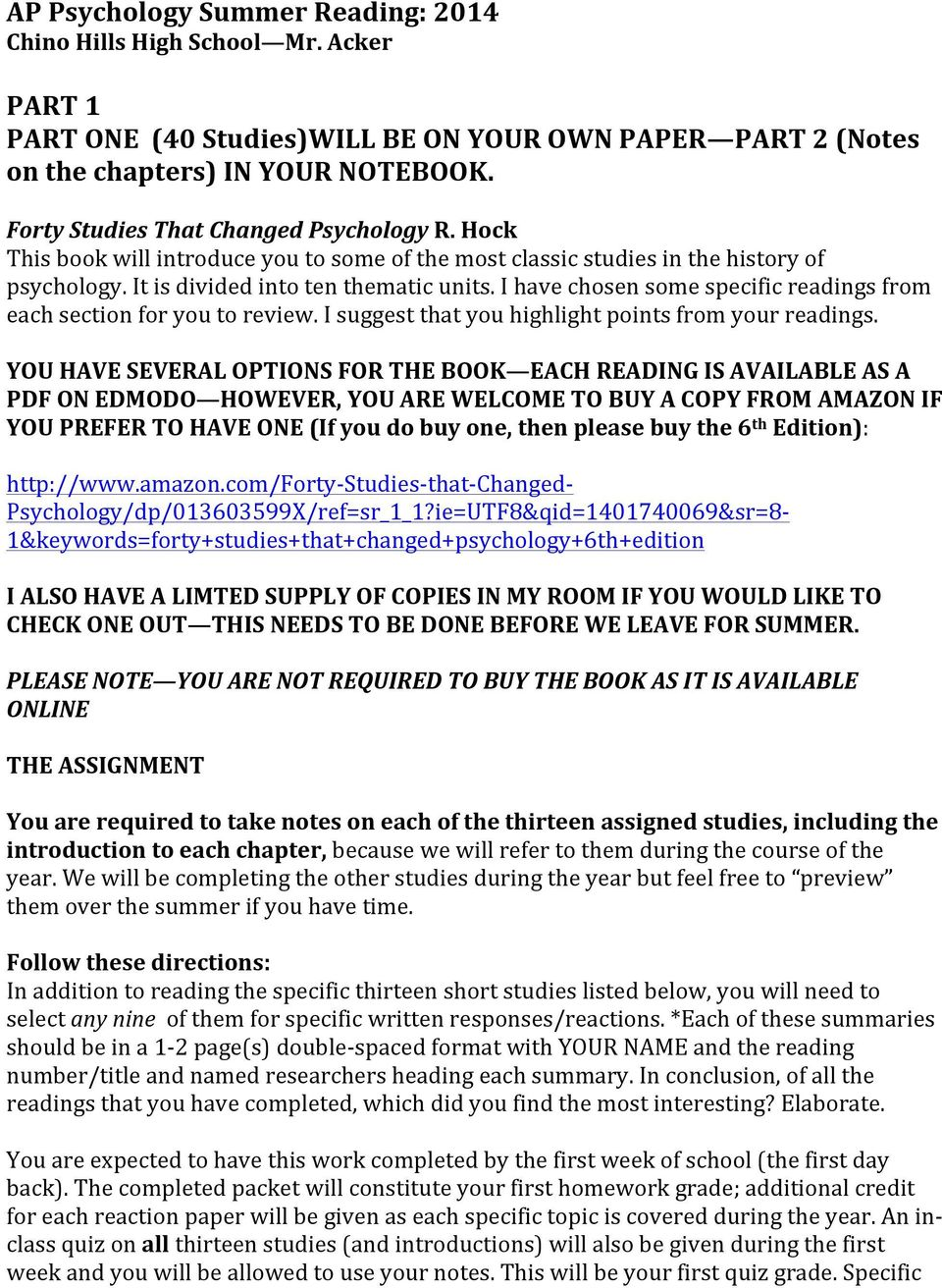 Forty Studies That Changed Psychology Pdf