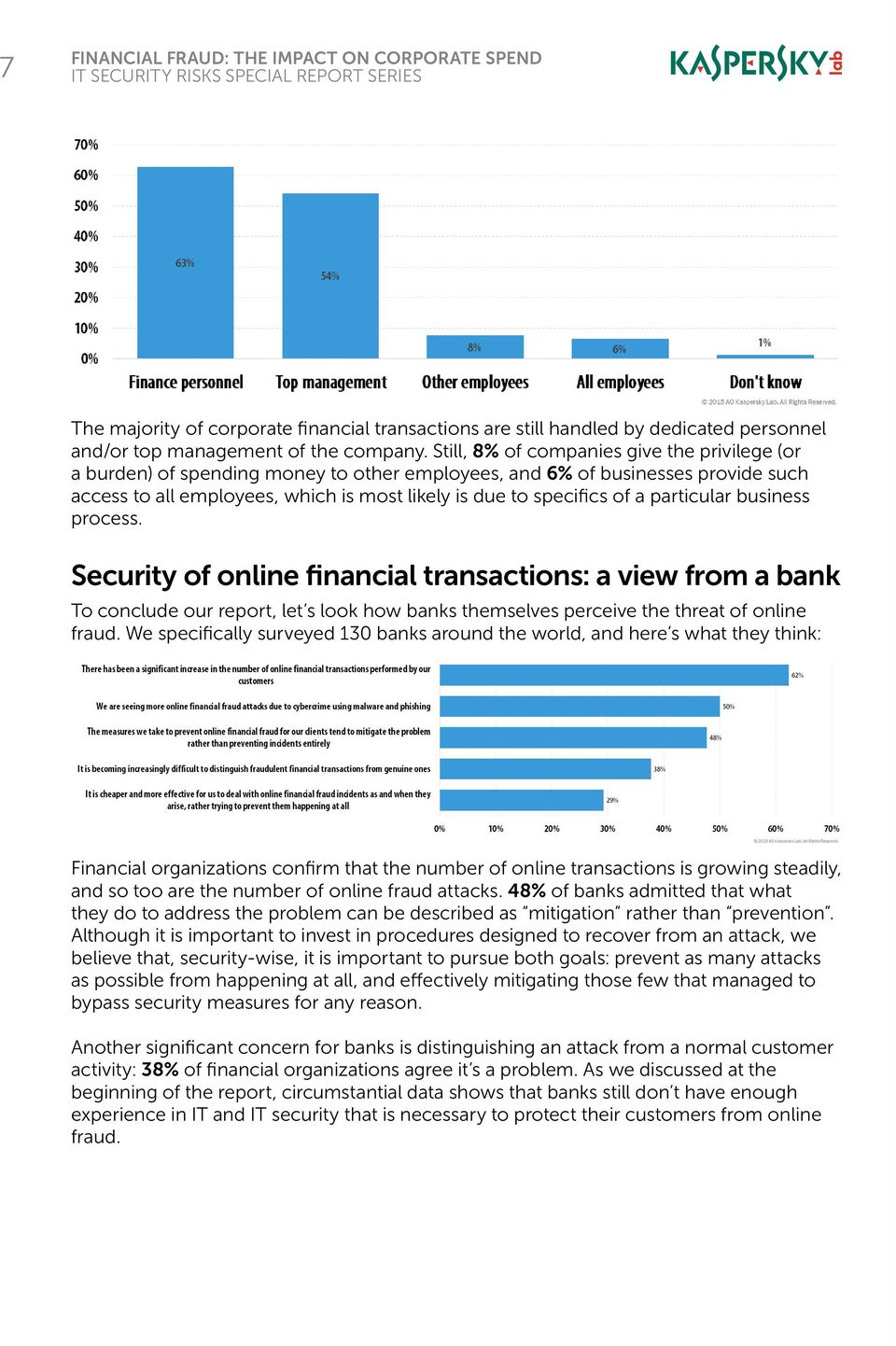 particular business process. Security of online financial transactions: a view from a bank To conclude our report, let s look how banks themselves perceive the threat of online fraud.