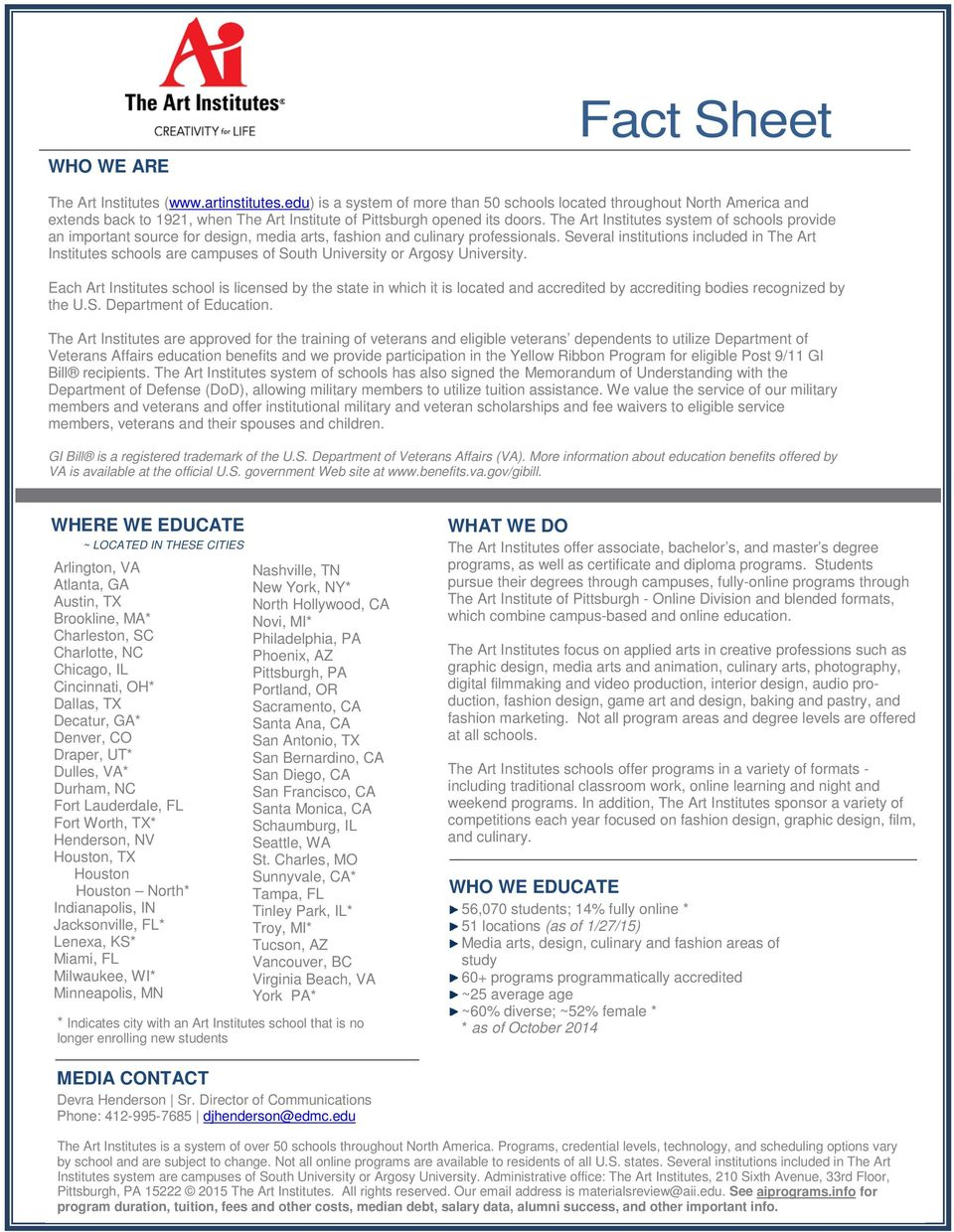 Fact Sheet Who We Are Where We Educate Located In These Cities Pdf Free Download