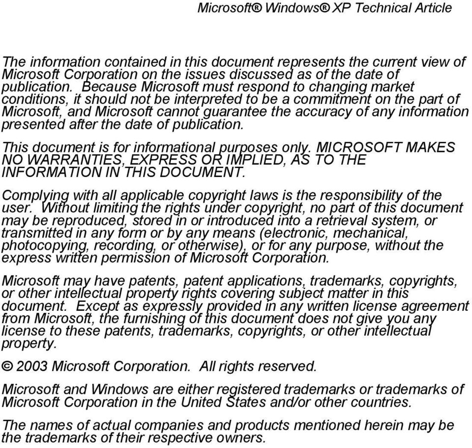 presented after the date of publication. This document is for informational purposes only. MICROSOFT MAKES NO WARRANTIES, EXPRESS OR IMPLIED, AS TO THE INFORMATION IN THIS DOCUMENT.