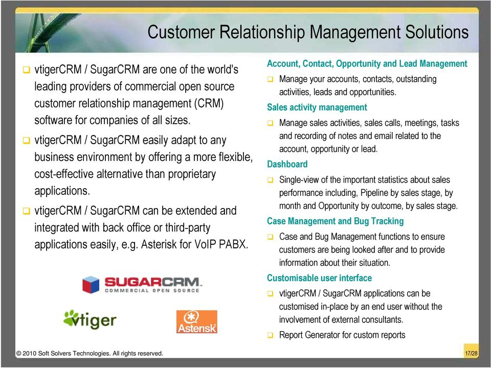 vtigercrm / SugarCRM can be extended and integrated with back office or third-party applications easily, e.g. Asterisk for VoIP PABX.