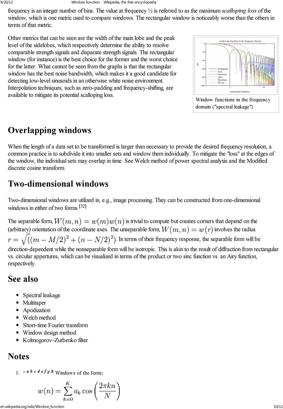 Window Function From Wikipedia The Free Encyclopedia For Term Electronic Filter Other Metrics That Can Be Seen Are Width Of Main Lobe And Peak