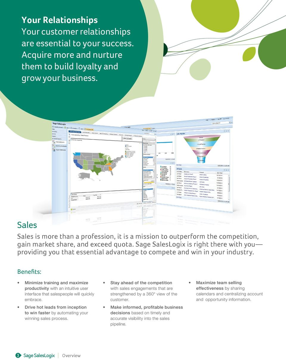 Sage SalesLogix is right there with you providing you that essential advantage to compete and win in your industry.