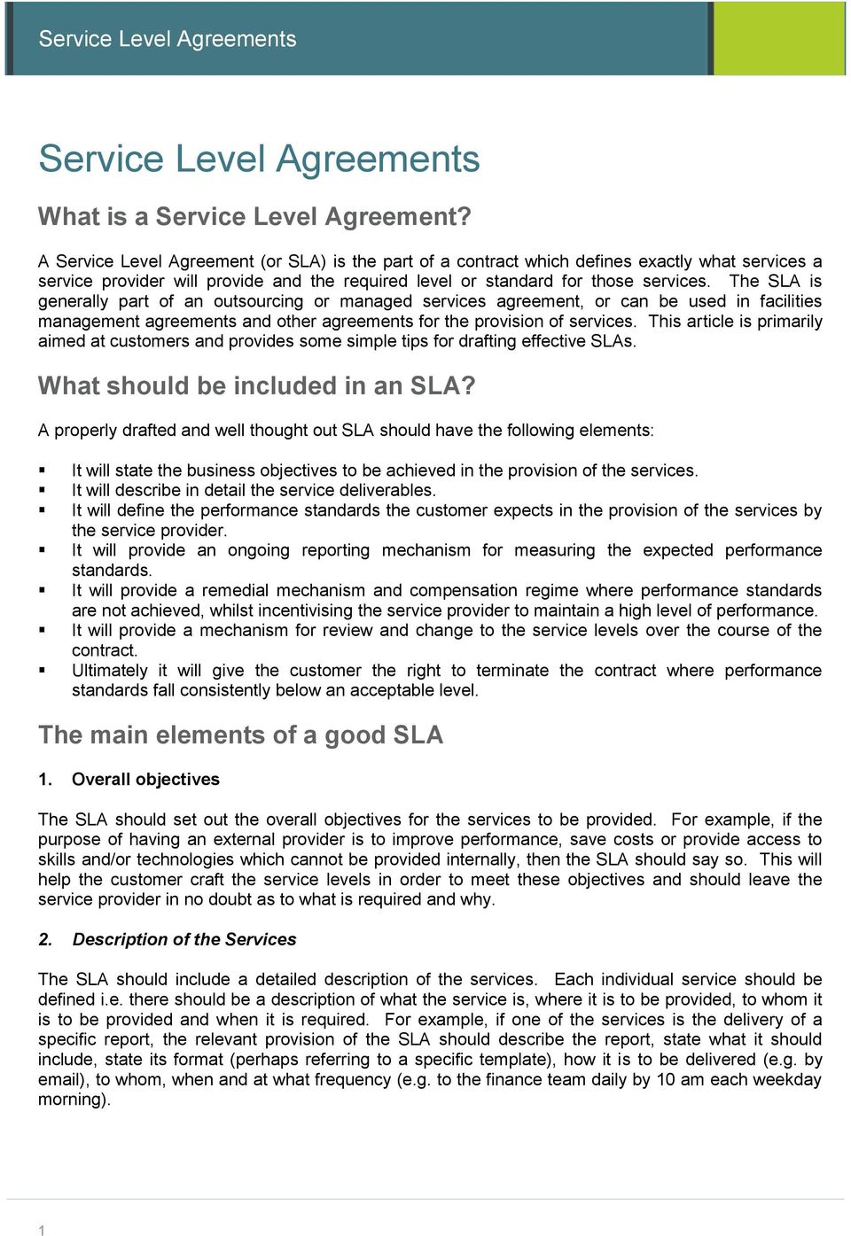 Service Level Agreements Pdf