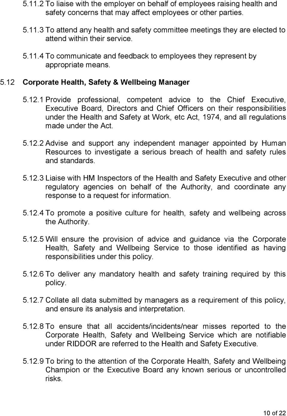 Corporate Health, Safety & Wellbeing Manager 5.12.