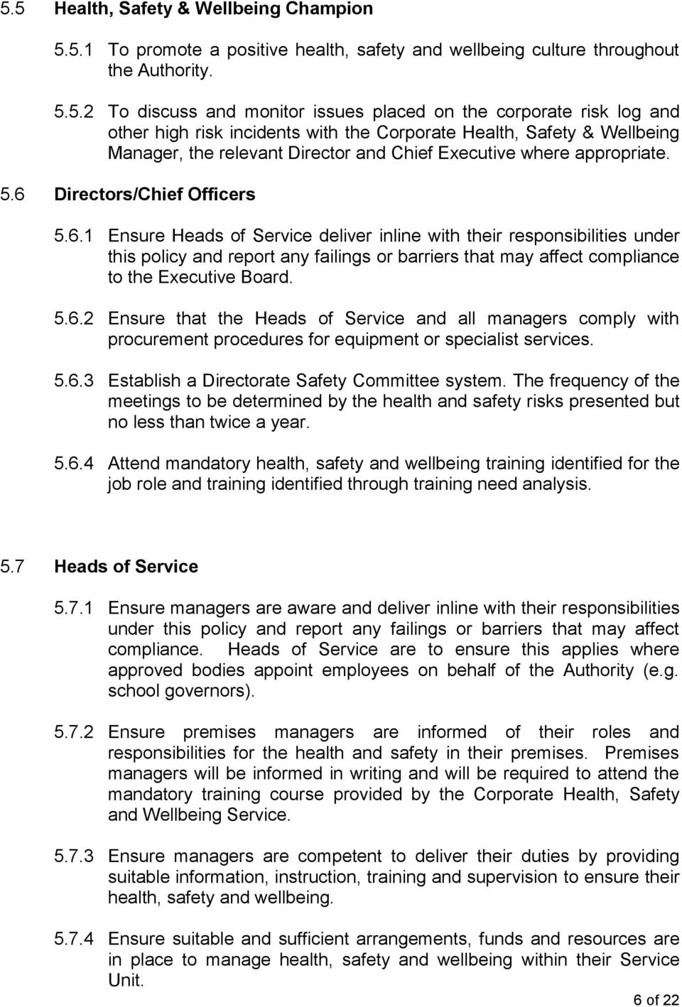 Directors/Chief Officers 5.6.