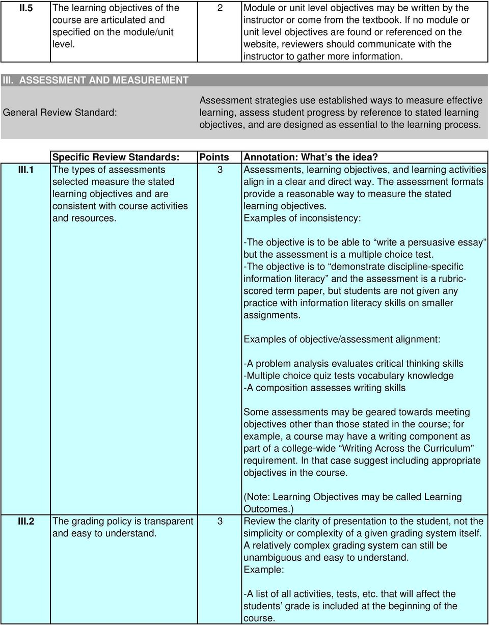 ASSESSMENT AND MEASUREMENT General Review Standard: Assessment strategies use established ways to measure effective learning, assess student progress by reference to stated learning objectives, and