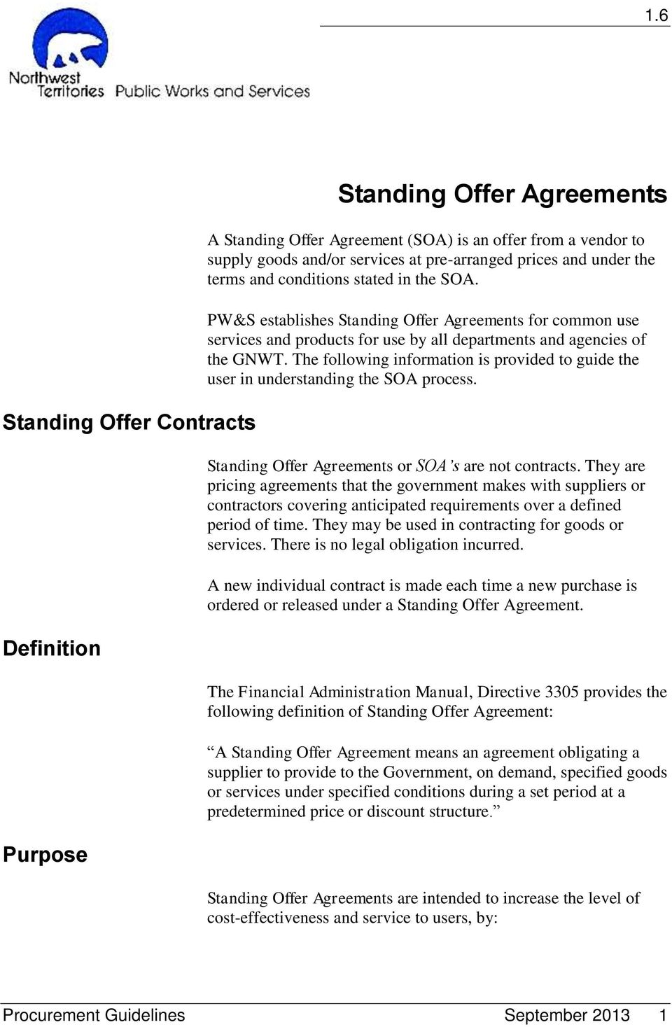 Standing Offer Agreements Pdf