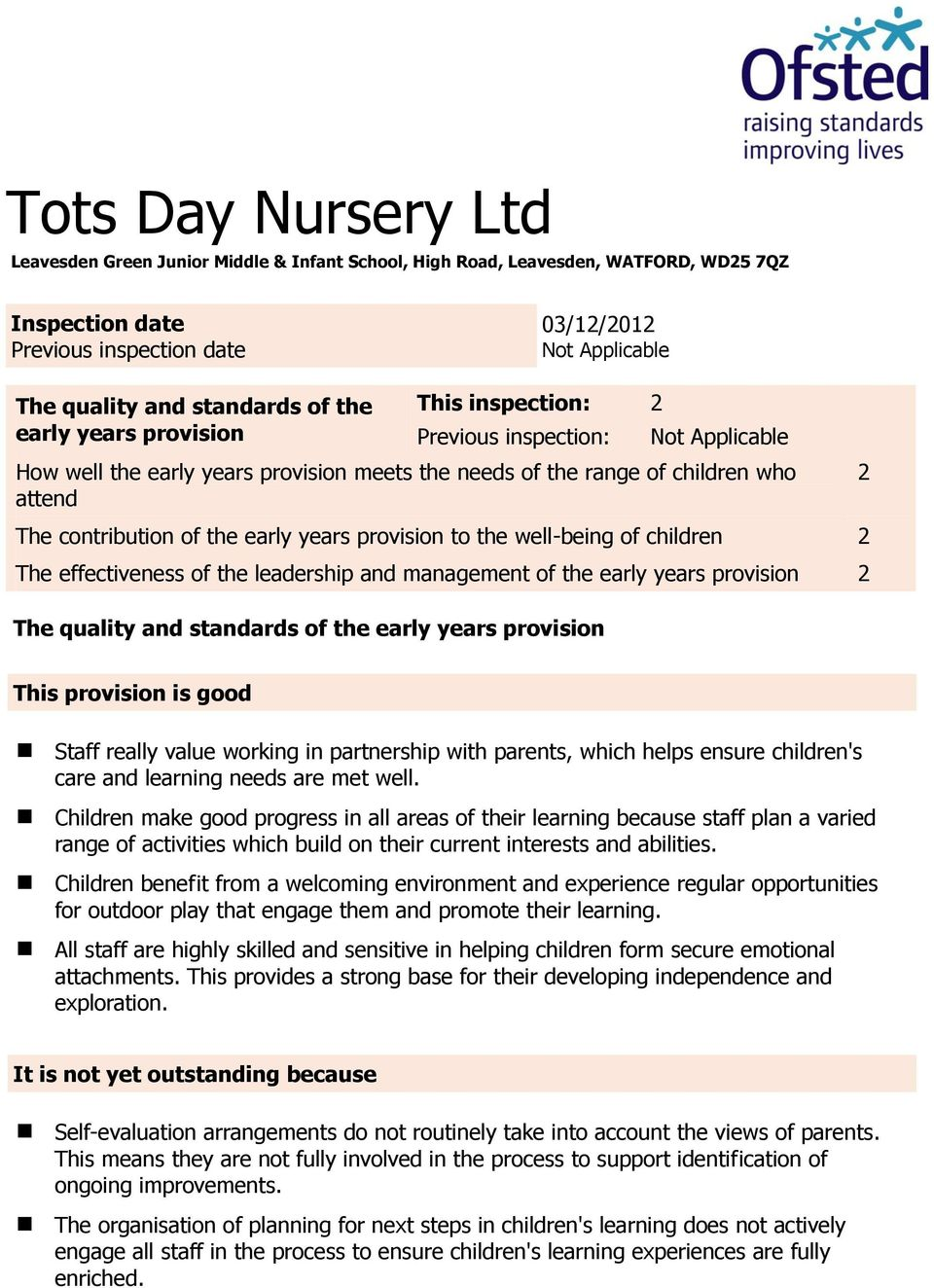 of the early years provision to the well-being of children 2 The effectiveness of the leadership and management of the early years provision 2 The quality and standards of the early years provision 2