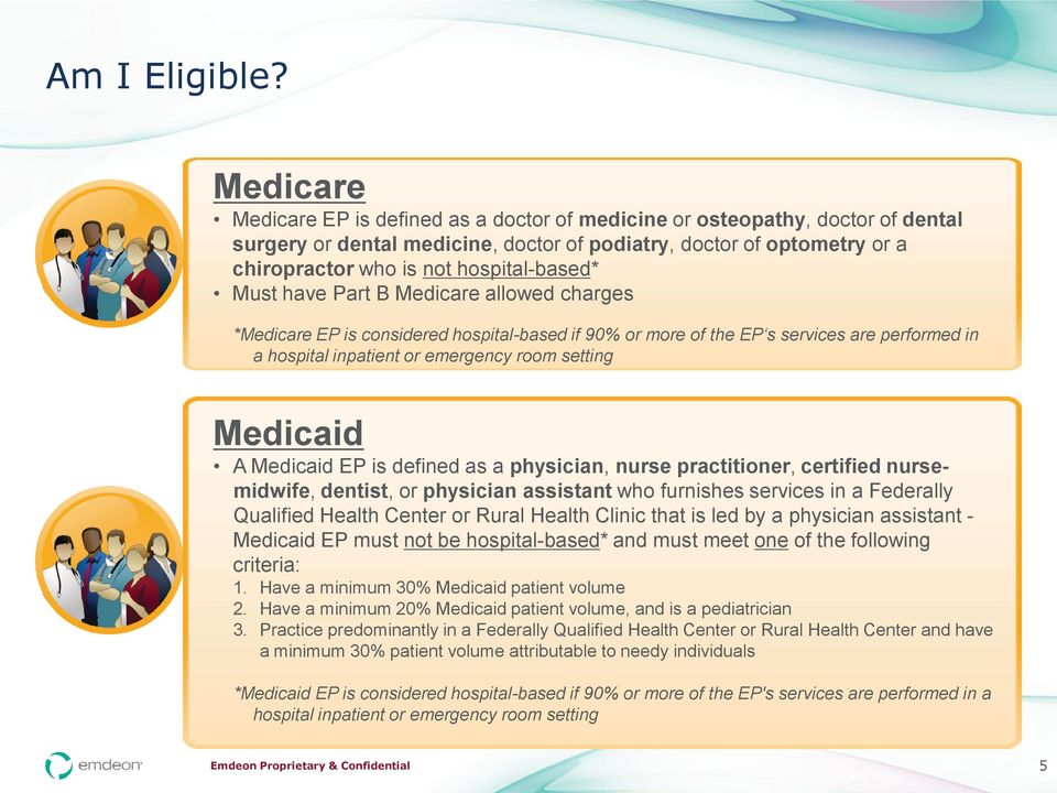 hospital-based* Must have Part B Medicare allowed charges *Medicare EP is considered hospital-based if 90% or more of the EP s services are performed in a hospital inpatient or emergency room setting