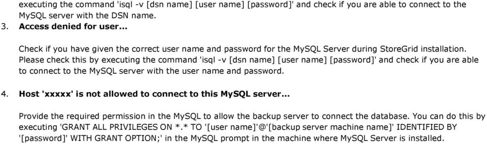 Installing and Configuring MySQL as StoreGrid Backend
