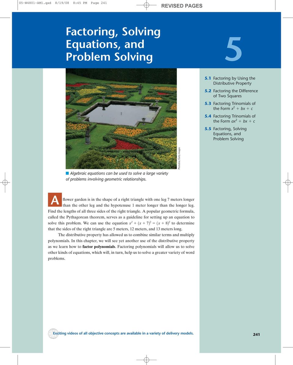 Factoring, Solving. Equations, and Problem Solving REVISED PAGES - PDF