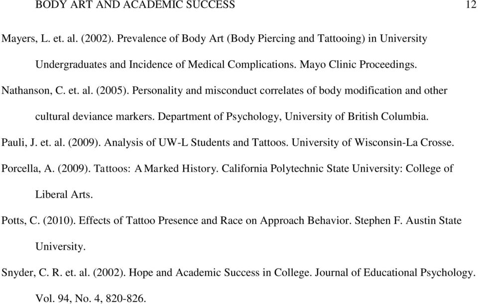 Running Head Body Art And Academic Success 1 Pdf Free Download