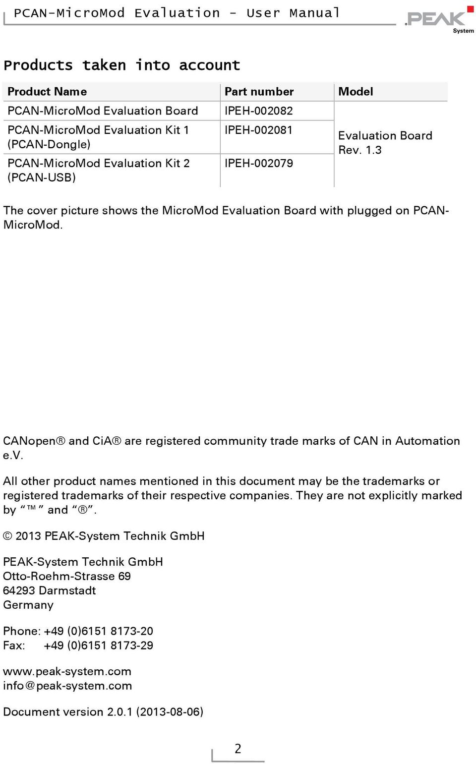 CANopen and CiA are registered community trade marks of CAN in Automation e.v.