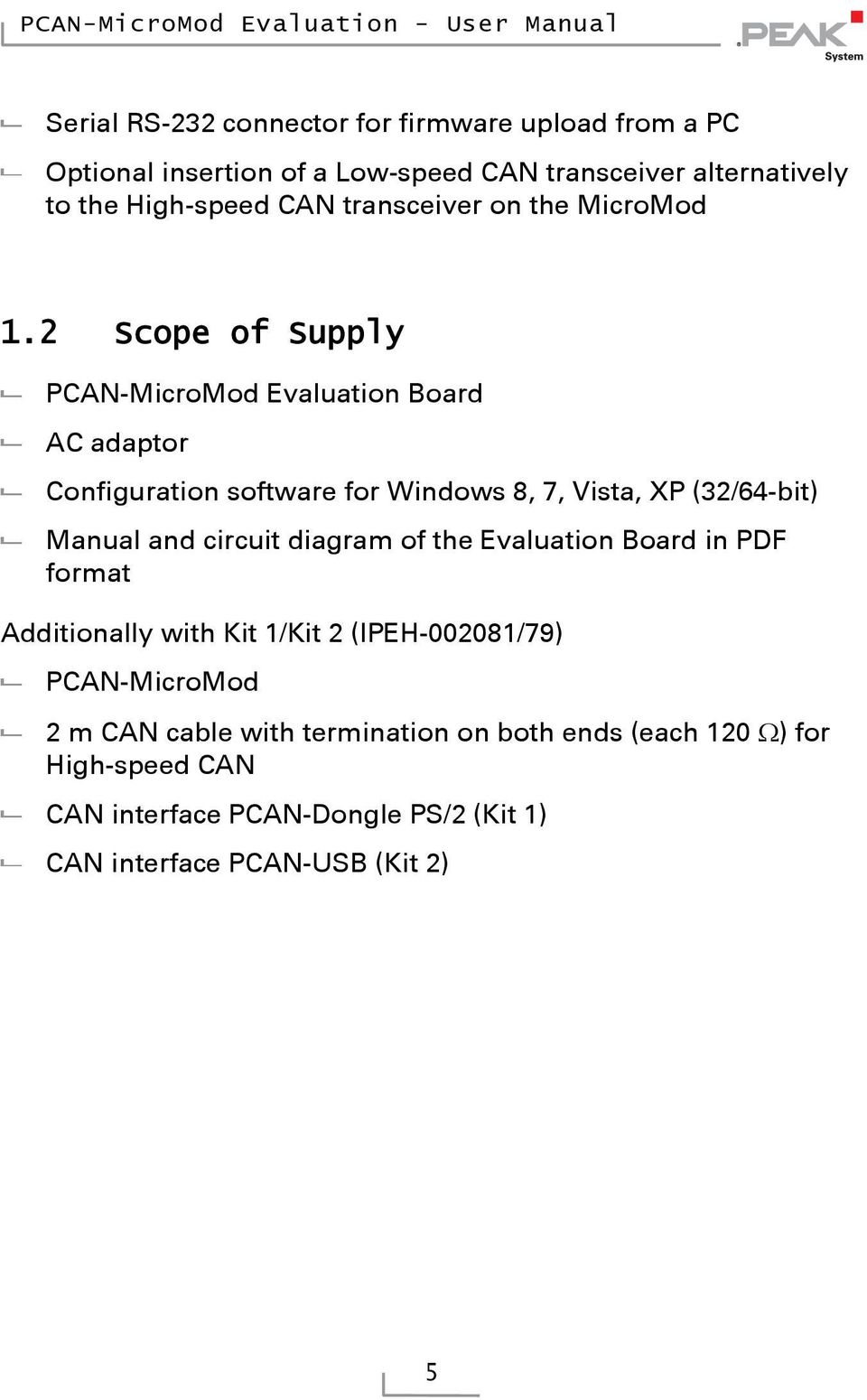 Scope of Supply PCAN-MicroMod Evaluation Board AC adaptor Configuration software for Windows,, Vista, XP (/-bit) Manual and circuit