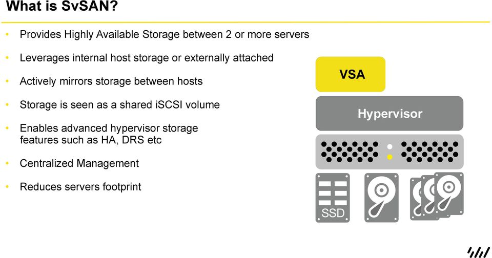 host storage or externally attached Actively mirrors storage between hosts