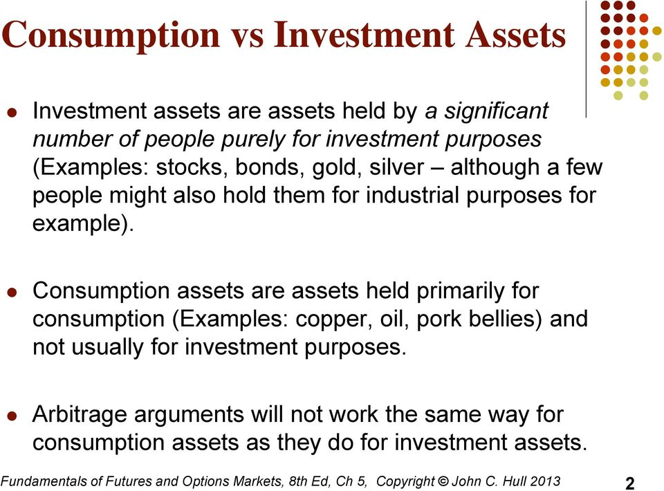Consumption assets are assets held primarily for consumption (Examples: copper, oil, pork bellies) and not usually for investment purposes.