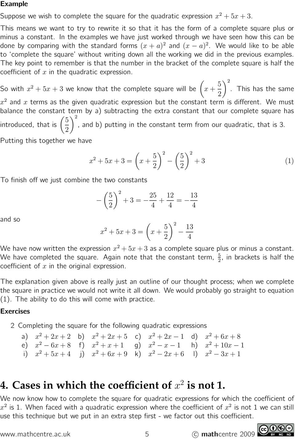 Completing The Square Pdf