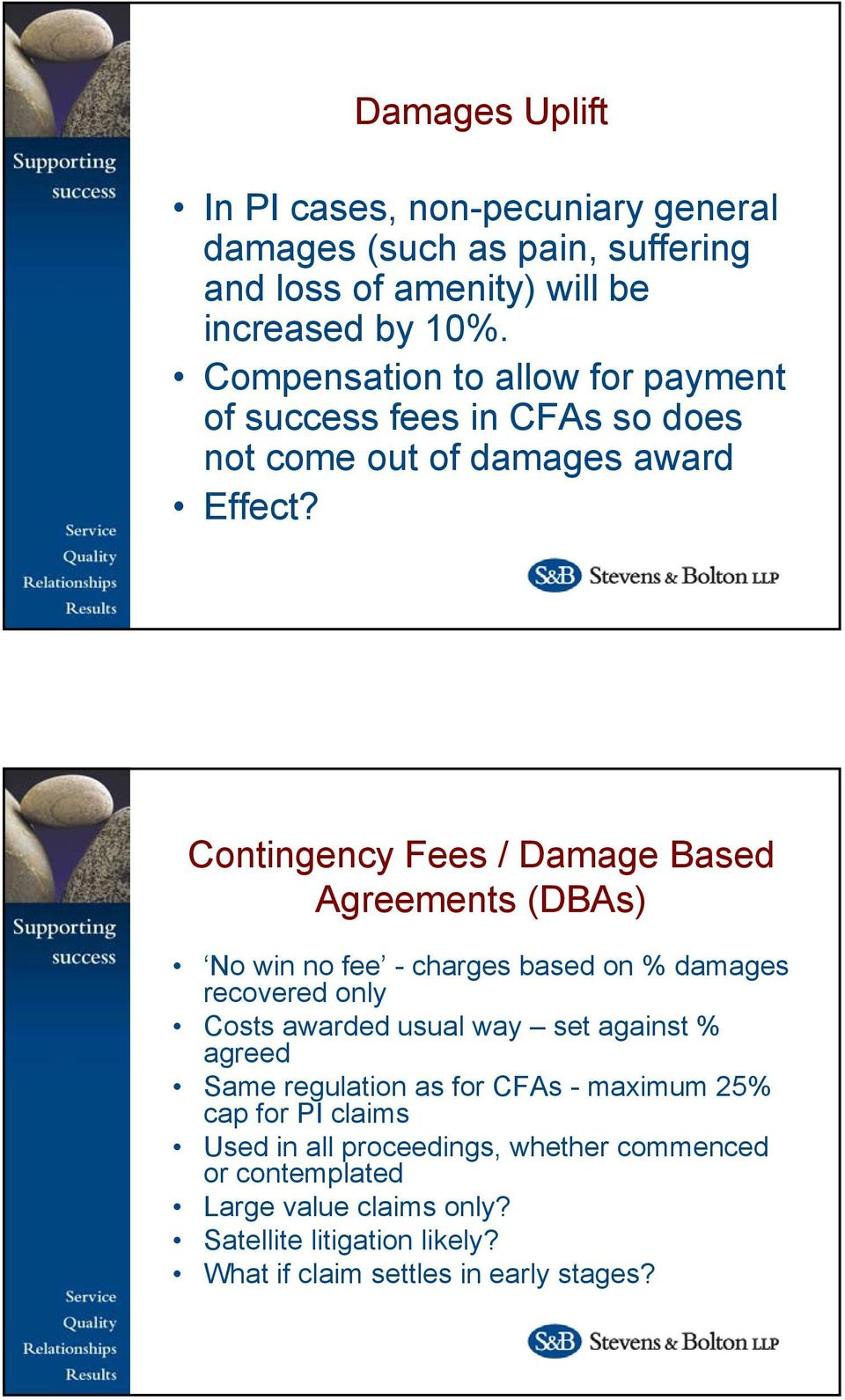 Contingency Fees / Damage Based Agreements (DBAs) No win no fee - charges based on % damages recovered only Costs awarded usual way set against %