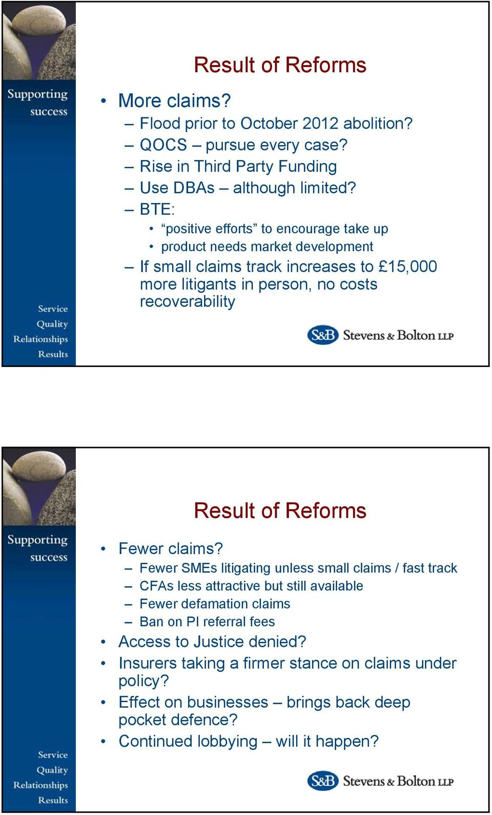 recoverability Result of Reforms Fewer claims?