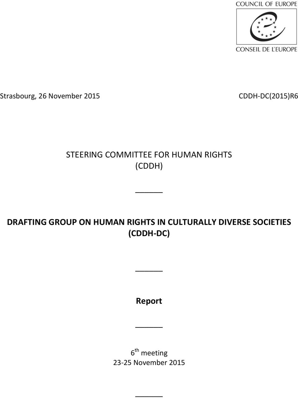 DRAFTING GROUP ON HUMAN RIGHTS IN CULTURALLY