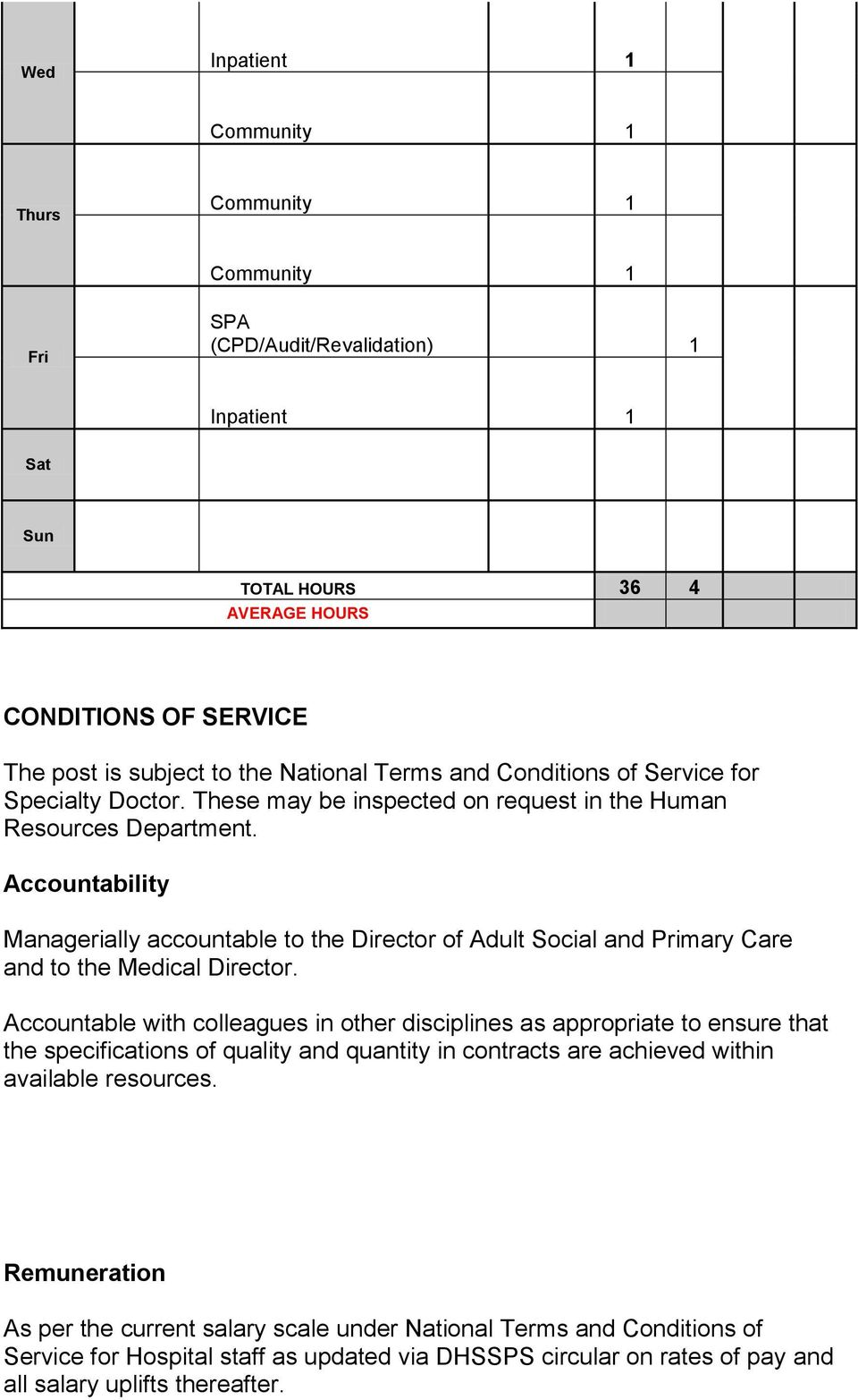 Accountability Managerially accountable to the Director of Adult Social and Primary Care and to the Medical Director.