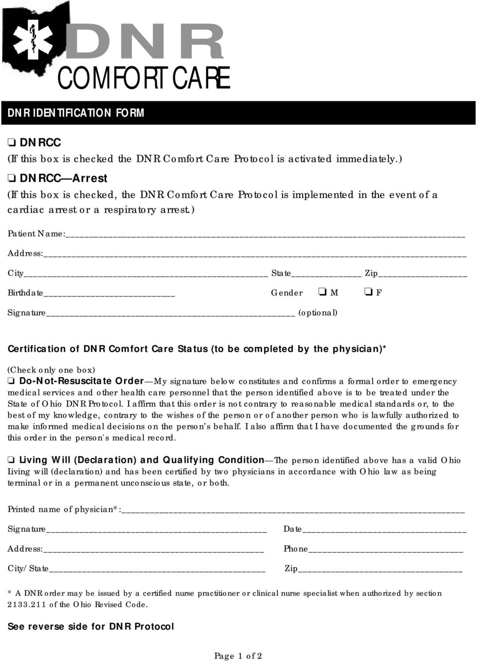 picture about Printable Dnr Form identified as Dnr Convenience Treatment Arrest