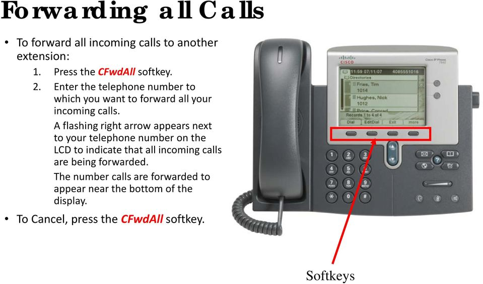 A flashing right arrow appears next to your telephone number on the LCD to indicate that all incoming calls