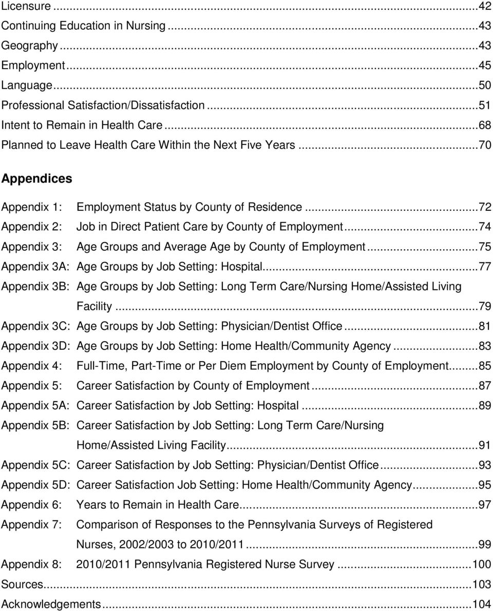 .. 74 Appendix 3: Age Groups and Average Age by County of Employment... 75 Appendix 3A: Age Groups by Job Setting: Hospital.