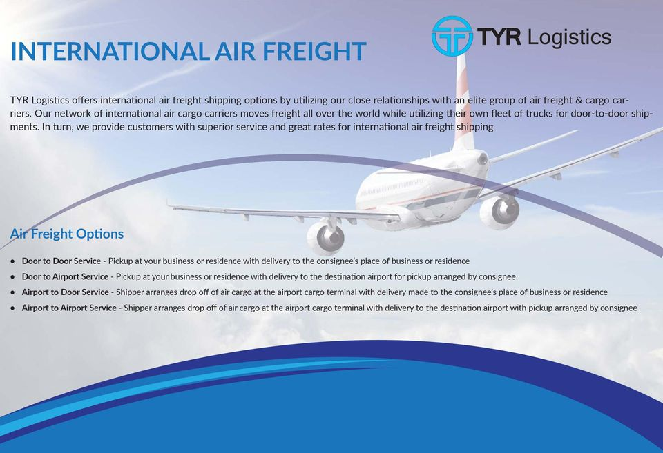 TYR Logistics  Air, Sea & Land Cargo  We are ready to move