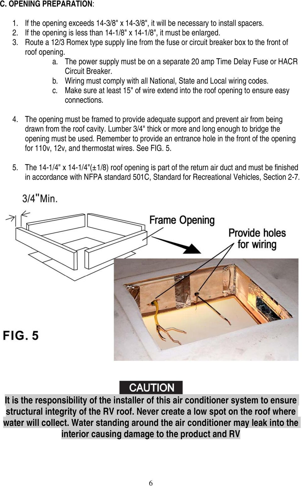 Roof Top Air Conditioner Installation And Operating Instructions Pdf Wiring Diagram For Recreational Vehicles Make Sure At Least 15 Of Wire Extend Into The Opening To