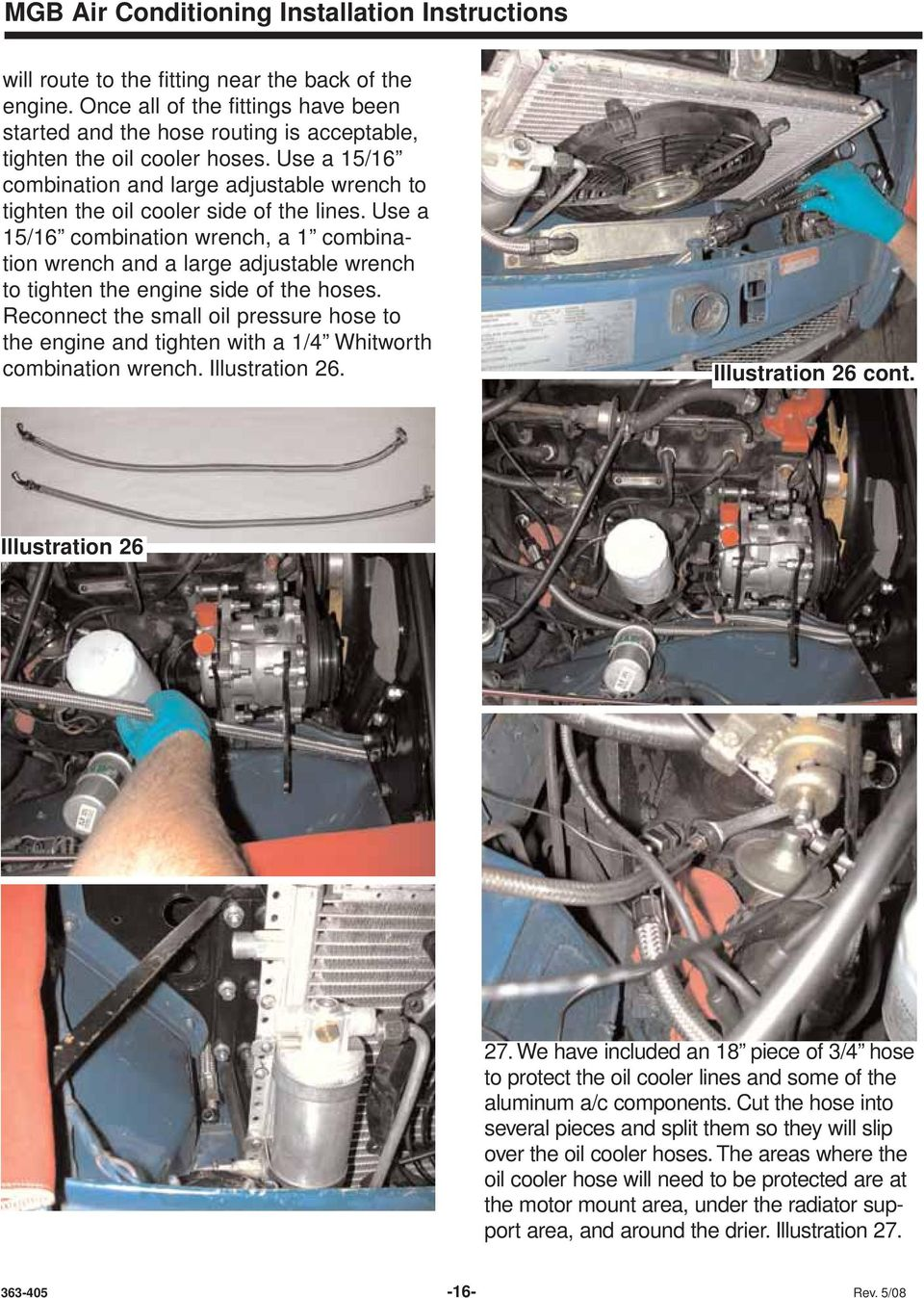 MGB Air Conditioning Installation Instructions For LHD cars