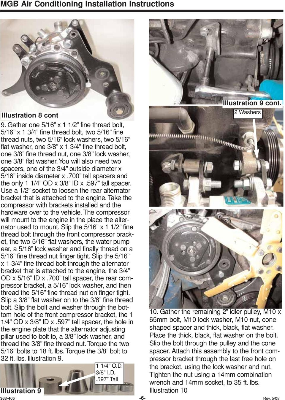 Mgb Air Conditioning Installation Instructions For Lhd Cars W Detailed A C Compressor Bracketry Diagram Nut One 3 8 Lock Washer Flat