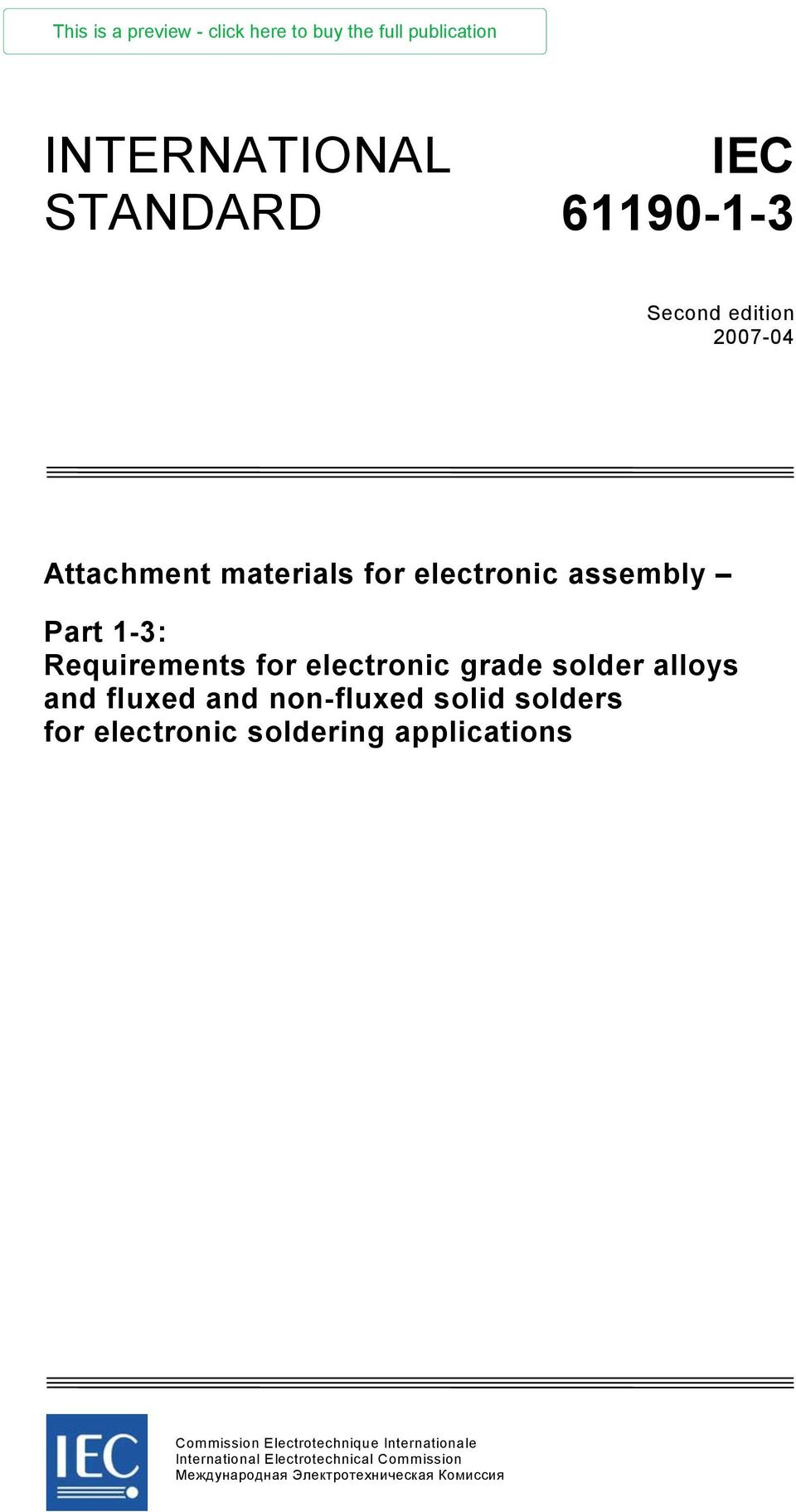 solders for electronic soldering applications Commission Electrotechnique  Internationale International