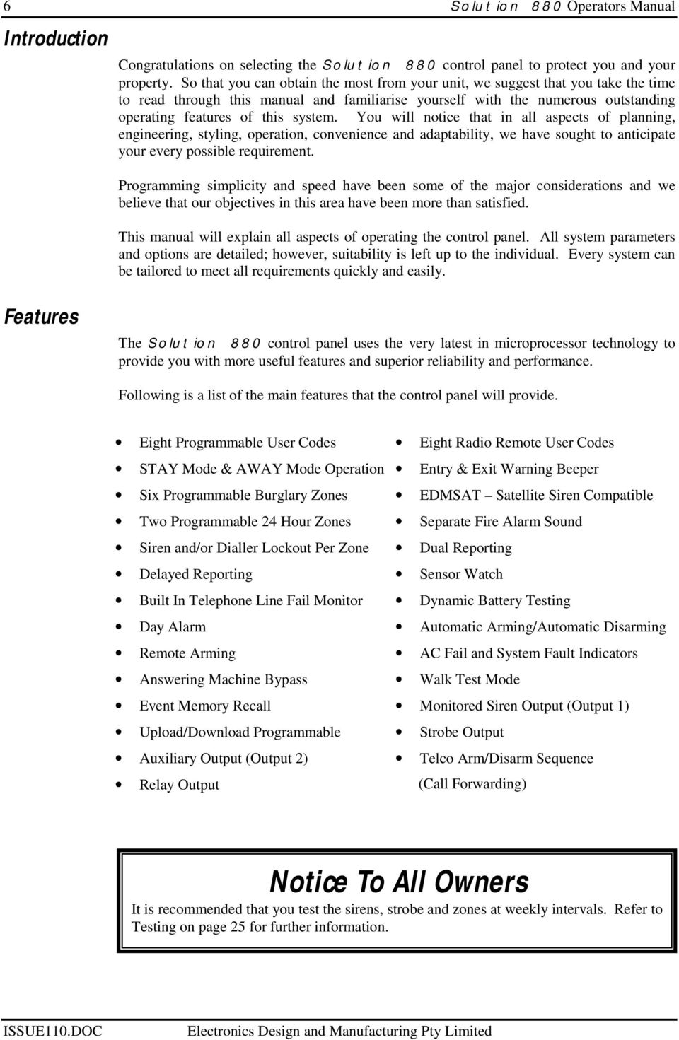 You will notice that in all aspects of planning, engineering, styling,  operation,. 7 Solution 880 Operators Manual ...