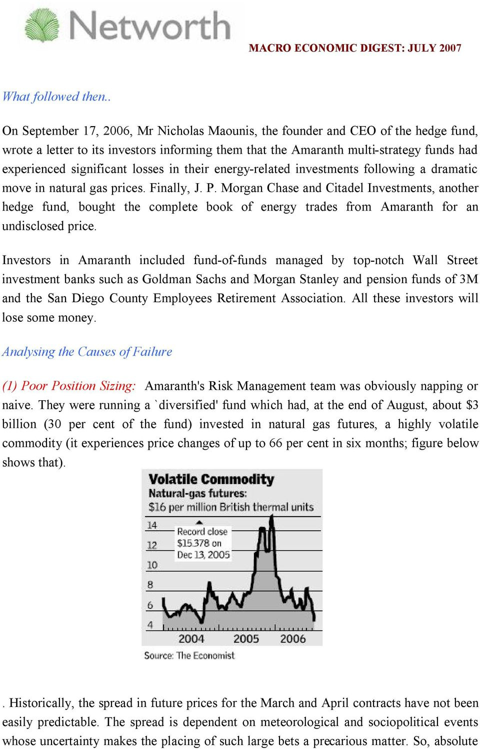 Amaranth Debacle : Lessons in Risk Management - PDF