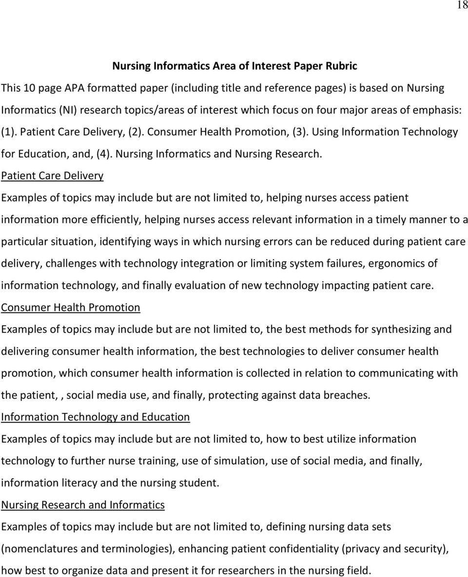 Nursing Informatics and Nursing Research.