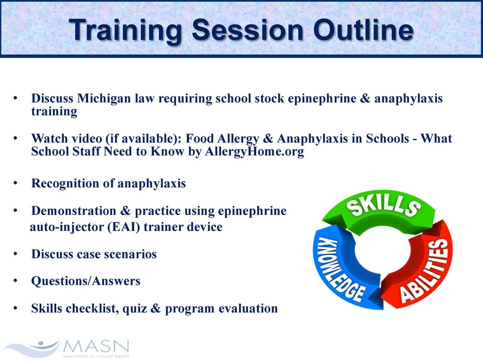 Anaphylaxis & Administration Of Stock Epinephrine  Training