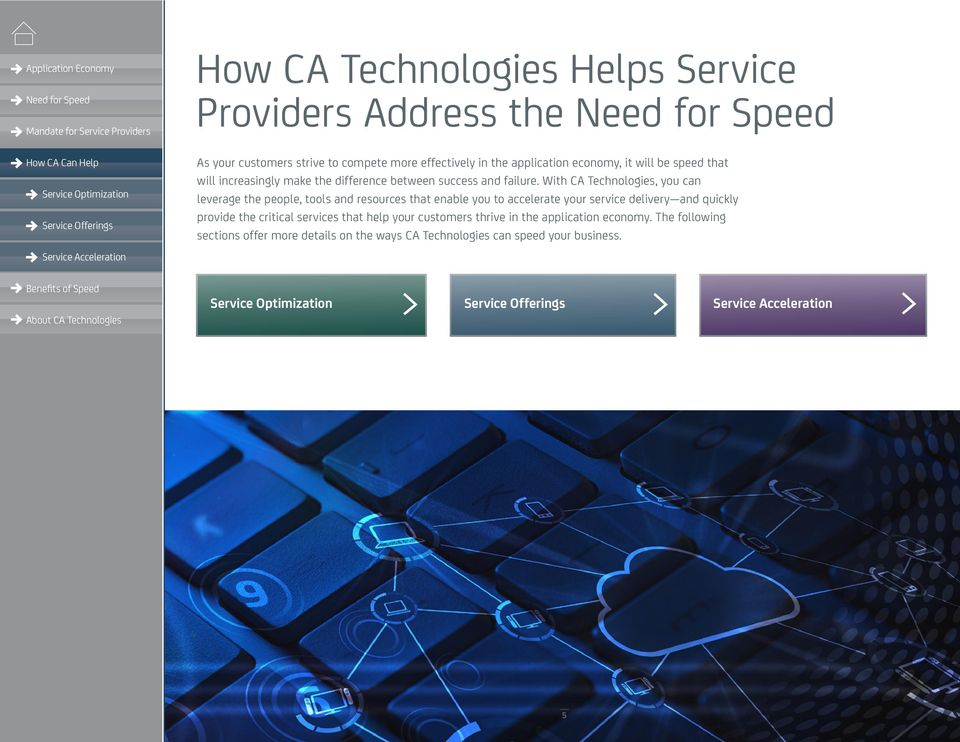 With CA Technologies, you can leverage the people, tools and resources that enable you to accelerate your service delivery and quickly provide the critical services